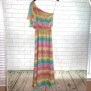 Jessica Simpson One Sleeve Ruffle Maxi Dress Sz 6